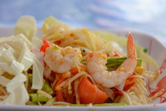 Papaya salad thai food. This is Papaya salad with shrimp, Thai food Stock Photo