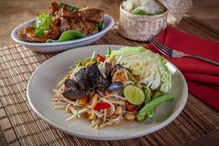 PAPAya Salad Thai food. Som tam and chicken grilled rice. Thai food royalty free stock photo