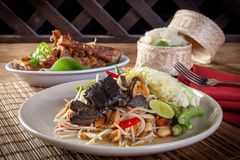 PAPAya Salad  Thai food. Som tam and chicken grilled rice. Thai food Stock Photo
