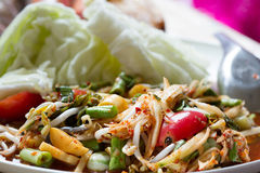 Papaya salad thai food Stock Photo