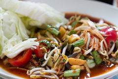Papaya salad thai food. Som Tum Pah Papaya salad thai food Royalty Free Stock Images