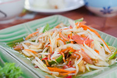 Papaya salad. Thai food SomTam. papaya salad on dish stock photos
