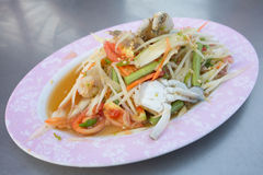 Papaya salad. Thai food somtam ( green papaya salad spicy thai style stock images