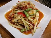 Papaya salad thai food. Somtam spicy asia asian food asianfood asiafood royalty free stock photography