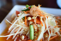 Papaya Salad Thai Food. Somtum Close up Royalty Free Stock Images