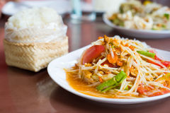 Papaya salad Thai food. Spicy royalty free stock photography