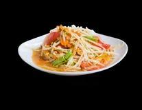 Papaya salad Thai food. Spicy royalty free stock photo