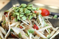 Papaya salad Thai food And spicy. The beautiful picture to bring to the beautiful title of the story Stock Images