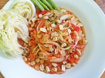 Papaya salad Thai food. Papaya spicy salad famous thai food stock images
