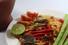 Papaya salad for Thai food. Then Thai language is `SOM THAM THAI POO Stock Photo