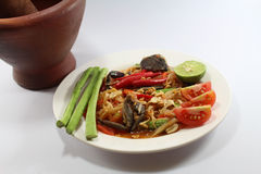 Papaya salad for Thai food. Then Thai language is `SOM THAM THAI POO Royalty Free Stock Photos