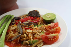 Papaya salad for Thai food. Then Thai language is `SOM THAM THAI POO Royalty Free Stock Images