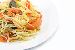 Papaya Salad,Thai Som Tam with crab. On white plate Stock Photography