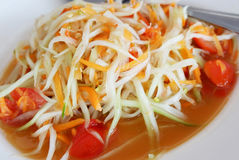 Papaya salad thai. Som Tum Thai or Green Papaya and carrots Salad Stock Photos