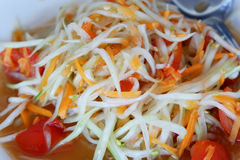 Papaya salad thai. Som Tum Thai or Green Papaya and carrots Salad Royalty Free Stock Photography
