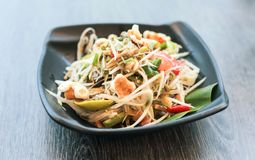 Papaya salad thai traditional food or name in thai Somtum. Papaya salad, Thai traditional food or name in Thai Somtum, papaya in fermented fish sauce with Royalty Free Stock Images