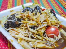 Papaya salad , thai traditional food. Papaya salad or somtam. Thai food is famous around the world. Spicy foods include pickled fish, crab, cucumber, long beans Stock Images