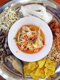 Papaya salad. Thai traditional foods, papaya salad is a spicy dish and fully of Thai signature taste Stock Photo