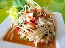 Papaya salad. In thaifood stock photography