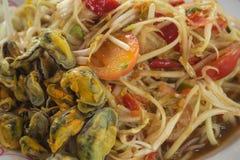 Papaya salad, Thailand food. Papaya salad (Somtum), Thailand food, Focus center Stock Image