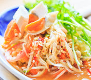 Papaya salad of Thailand. Thai famous food; Papaya salad with salted egg Royalty Free Stock Photo