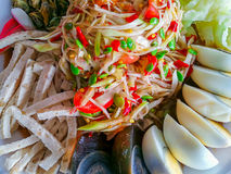 Asia, Laos, Thailand, backgrounds, bean. Papaya salad on top with salted egg `Somtum` in Thai, Famous Thai food stock images