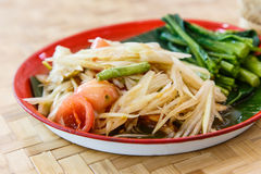 Papaya salad, Traditional spicy Thai food Royalty Free Stock Photo