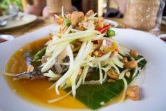 Papaya salad. Traditional spicy Thai food.Som-Tum Stock Photo