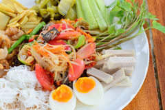 Papaya salad tray Royalty Free Stock Images