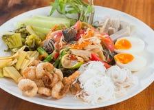 Papaya salad tray Royalty Free Stock Image