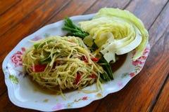 Papaya salad and vegetables Stock Photo
