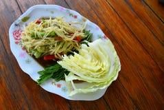 Papaya salad and vegetables Stock Image