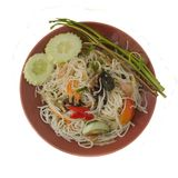Papaya Salad with Vermicelli, Salted Crab and Fermented Fish. Spicy papaya Salad with Vermicelli, Salted Crab and Fermented Fish on white background Stock Image