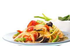 Papaya salad or what we called \'Somtum\' in Thai ,Famous Thai foo. D isolated on white background royalty free stock images