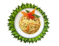 Papaya salad is in a white plate. Royalty Free Stock Photos