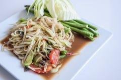 Papaya-Salat, thailändischer Anruf Stockbild