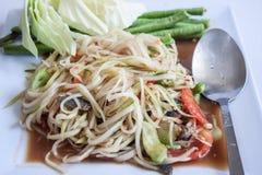 Papaya-Salat, thailändischer Anruf Stockfotos