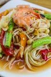 Papaya-Salat, thailändisches Lebensmittel Stockbilder