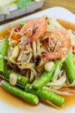Papaya-Salat, thailändisches Lebensmittel Stockfoto