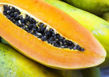 Papaya with seed Stock Photo