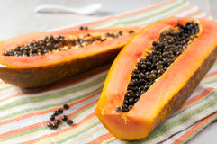 Papaya with seeds ripe and fresh Stock Image