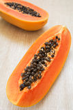Papaya with seeds ripe and fresh Stock Images