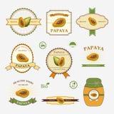 Papaya, set of label design Stock Photos