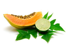 Papaya slice and lime isolated Stock Image