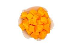 Papaya slice on plate Stock Photos