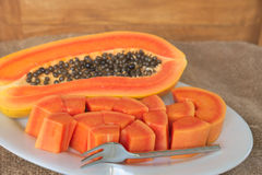 Papaya slice Stock Image