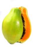 Papaya sliced. Papaya fruit section sliced on half isolated on a white background Royalty Free Stock Photos