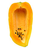Papaya Sliced  fruits. Papaya Sliced on white isolated background Top view Royalty Free Stock Photos