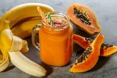 Papaya smoothie, selective focus. Detox, diet food. royalty free stock photo