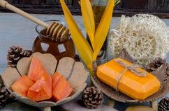 Papaya soap Royalty Free Stock Photos